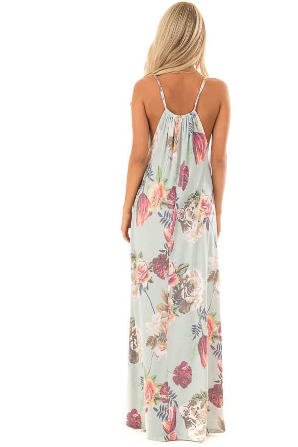 Mint Floral Print Halter Maxi Dress with Gathered Neckline back full body