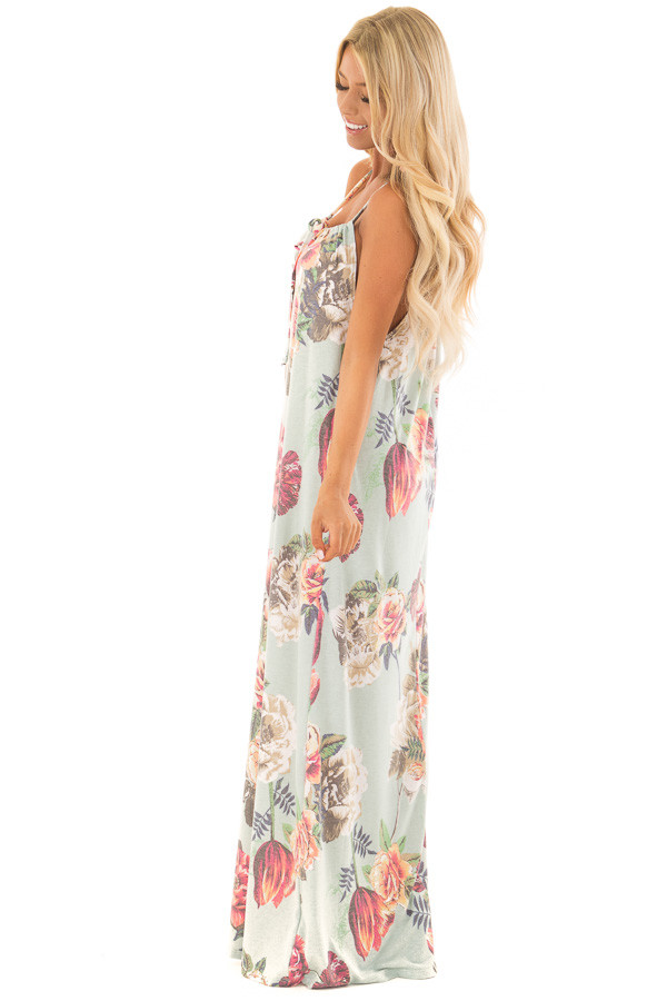 Mint Floral Print Halter Maxi Dress with Gathered Neckline side full body