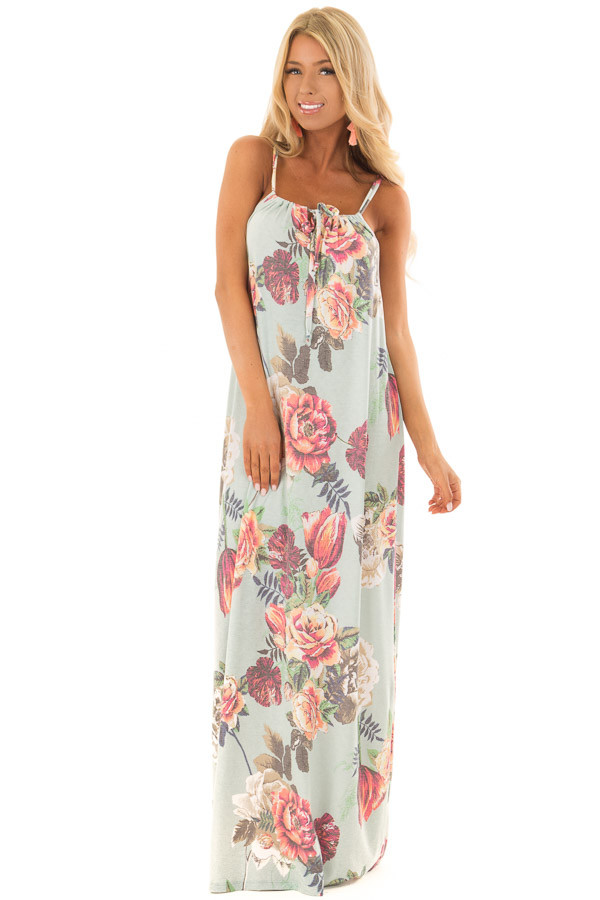 Mint Floral Print Halter Maxi Dress with Gathered Neckline front full body