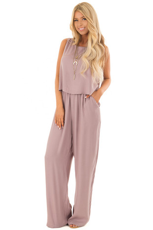 Dusty Lilac Layered Jumpsuit front full body