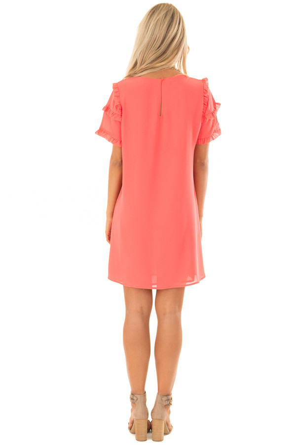 Coral Sherbet V Neck Shift Dress with Ruffle Sleeves back full body