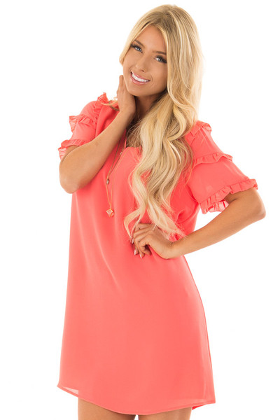 Coral Sherbet V Neck Shift Dress with Ruffle Sleeves front close up