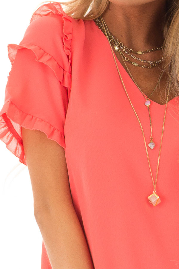 Coral Sherbet V Neck Shift Dress with Ruffle Sleeves detail