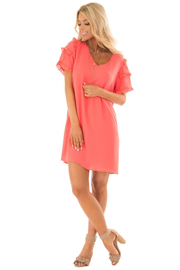Coral Sherbet V Neck Shift Dress with Ruffle Sleeves front full body