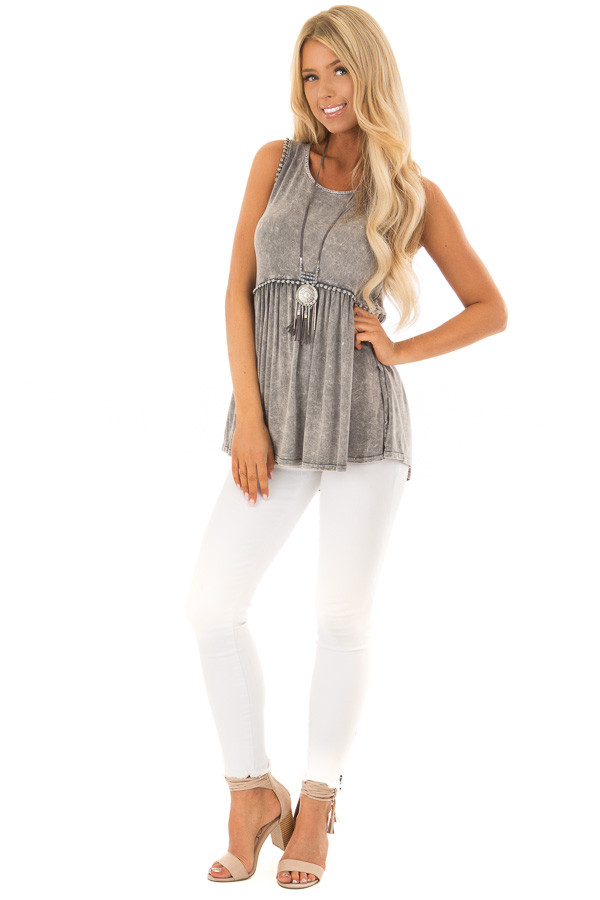 Grey Mineral Wash Tank Top with Lace Trim Detail front full body