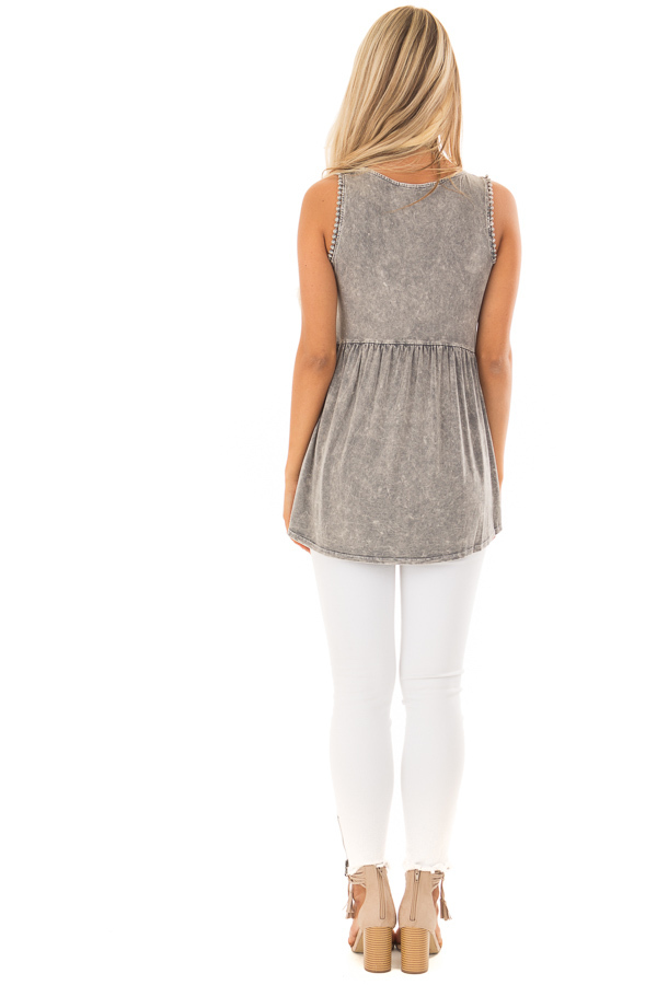 Grey Mineral Wash Tank Top with Lace Trim Detail back full body