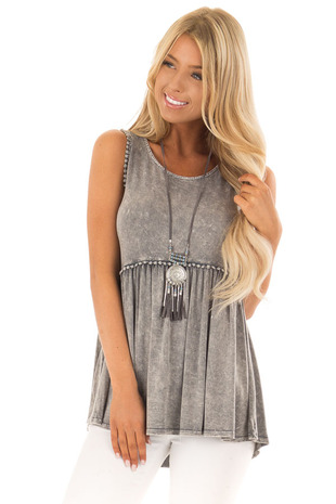 Grey Mineral Wash Tank Top with Lace Trim Detail front close up