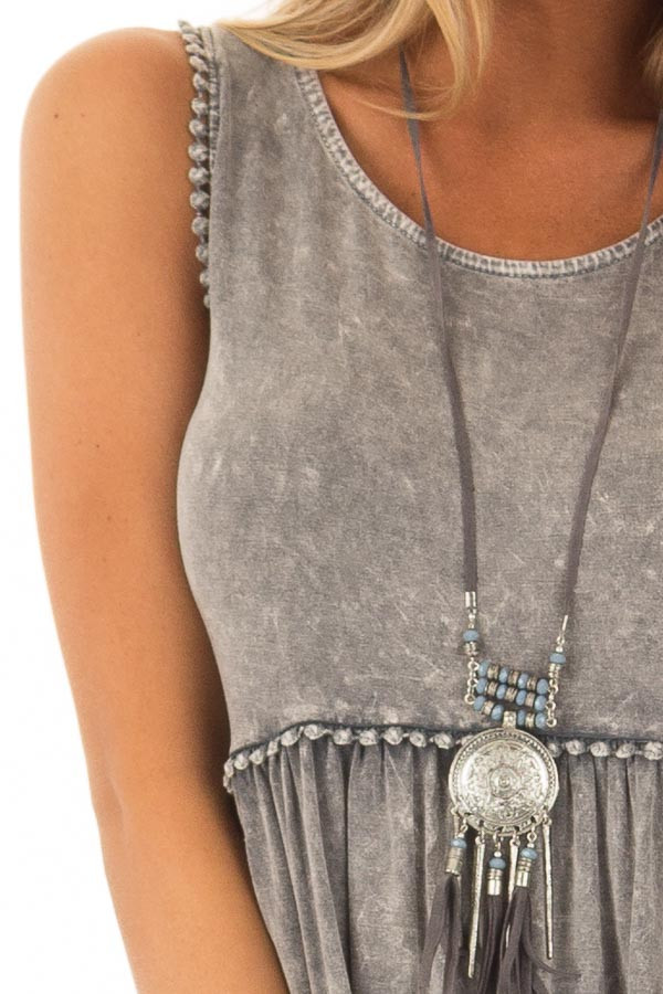 Grey Mineral Wash Tank Top with Lace Trim Detail detail