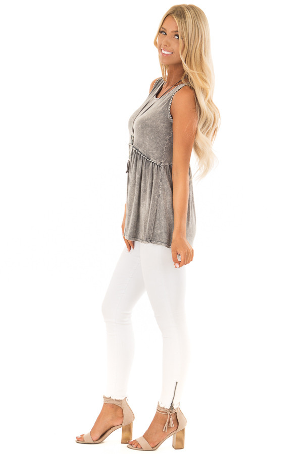 Grey Mineral Wash Tank Top with Lace Trim Detail side full body