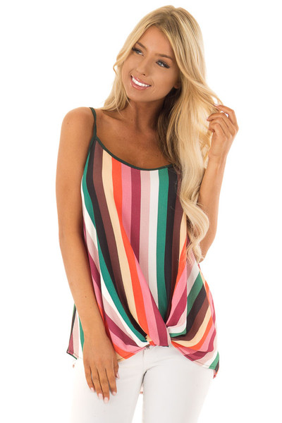 Multicolor Spaghetti Strap Top with Front Twist front close up