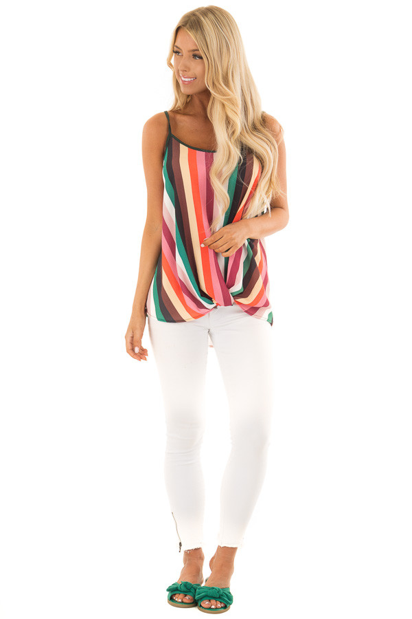 Multicolor Spaghetti Strap Top with Front Twist front full body