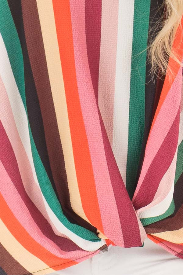 Multicolor Spaghetti Strap Top with Front Twist detail