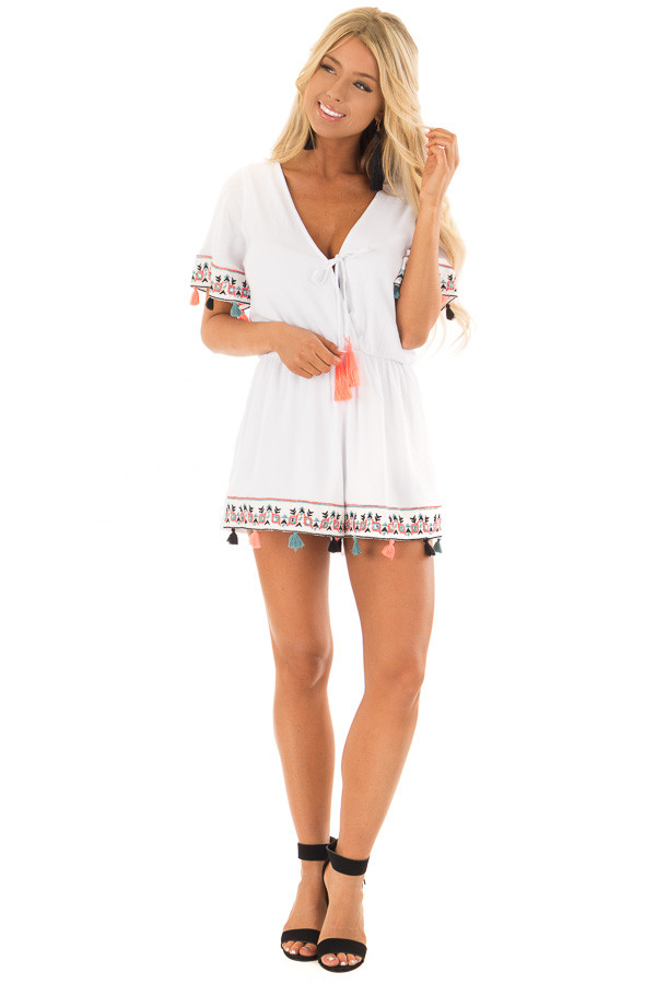 White Romper with Embroidered Trim and Multicolored Tassels front full body