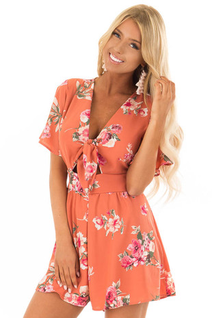 Coral Floral Print Romper with Front Cutout and Tie front close up