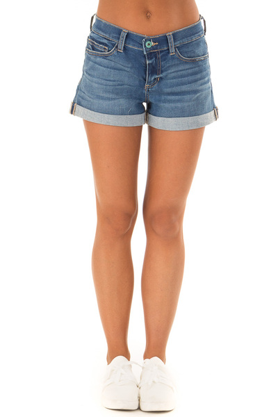 Light Wash Denim Mid Rise Shorts with Cuffed Hem front view