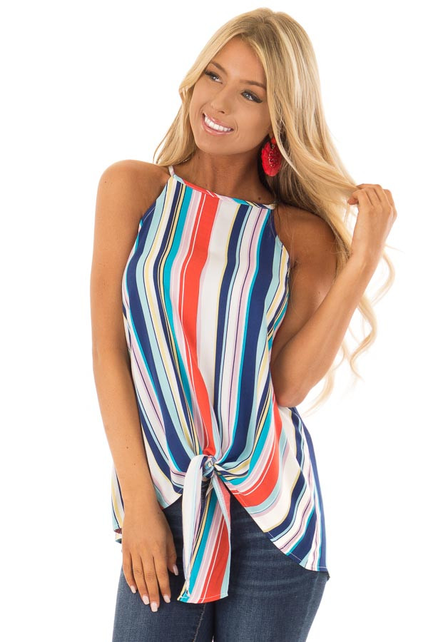 Multicolor Striped Halter Top with Front Tie Detail front close up