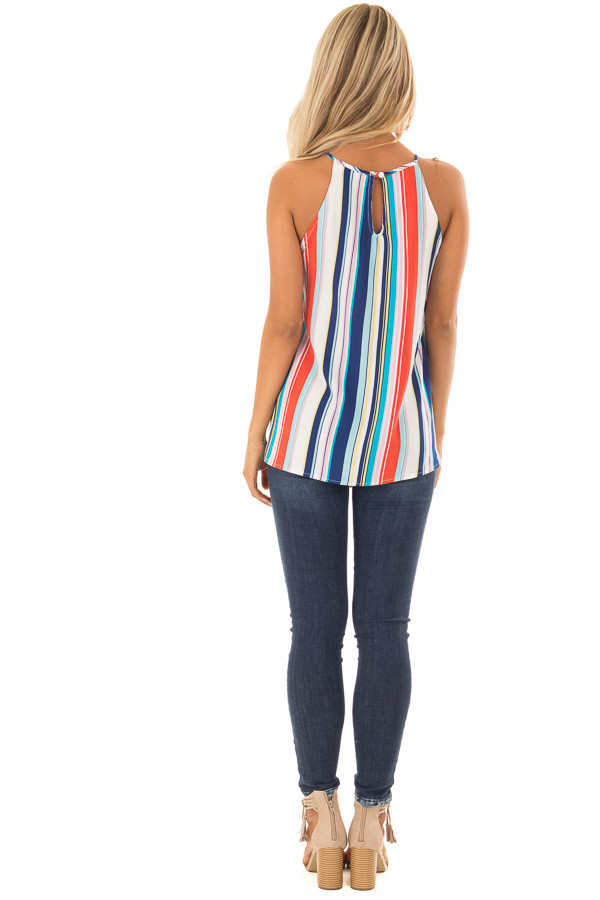 Multicolor Striped Halter Top with Front Tie Detail back full body