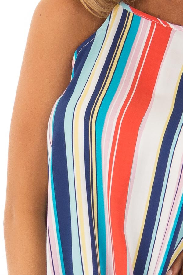 Multicolor Striped Halter Top with Front Tie Detail detail