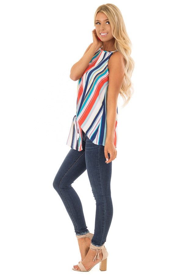 Multicolor Striped Halter Top with Front Tie Detail side full body
