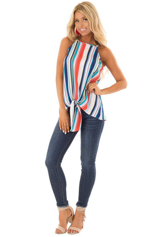 Multicolor Striped Halter Top with Front Tie Detail front full body