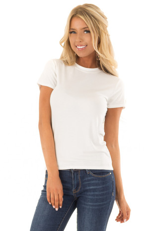 White Short Sleeve Tee Shirt front close up