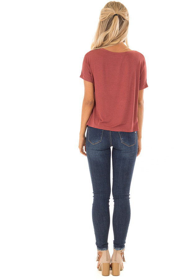 Brick V Neckline Loose Top with Tied Front Detail back full body