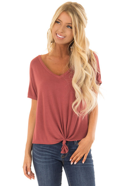 Brick V Neckline Loose Top with Tied Front Detail front close up