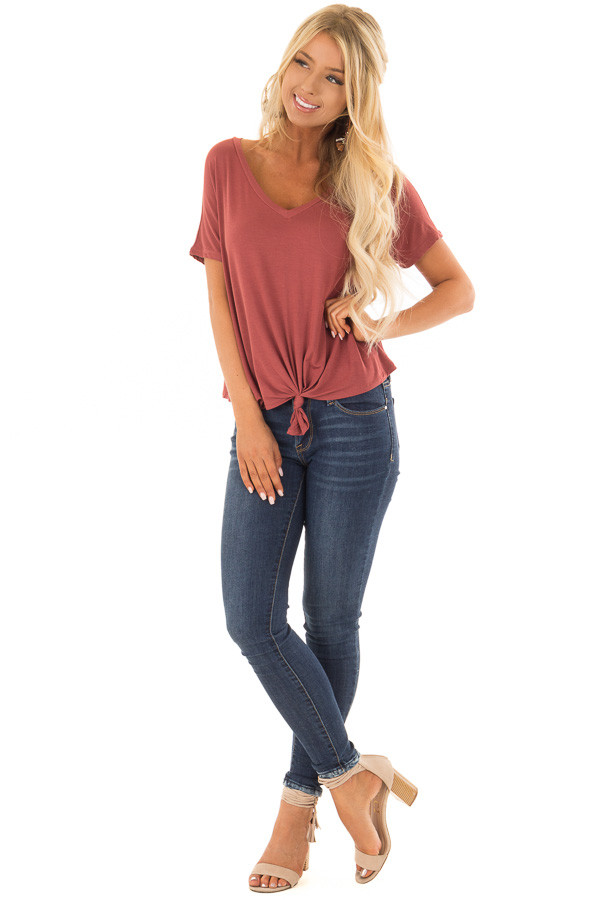 Brick V Neckline Loose Top with Tied Front Detail front full body