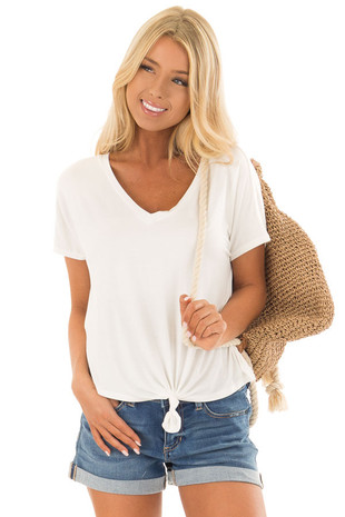 Off White V Neckline Loose Top with Tied Front Detail front close up