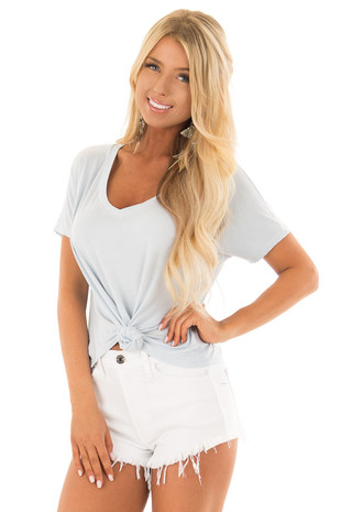 Baby Blue V Neckline Loose Top with Tied Front Detail front close up