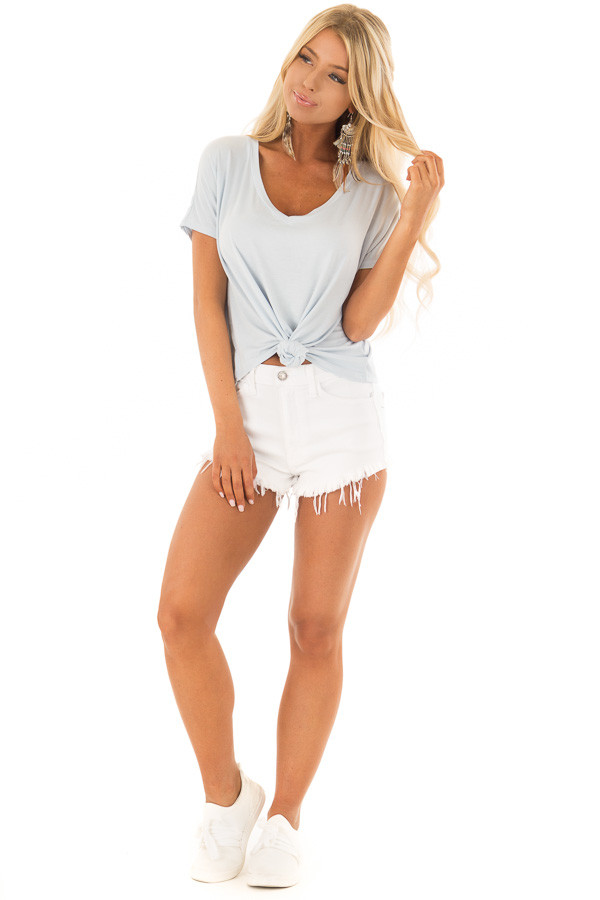 Baby Blue V Neckline Loose Top with Tied Front Detail front full body