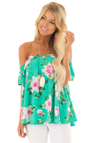 Jade Floral Print Off the Shoulder Short Sleeve Top front close up