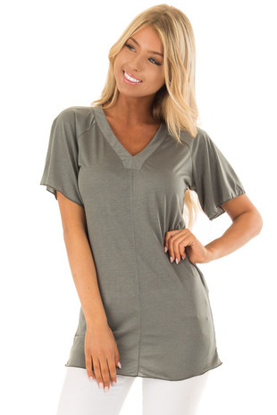 Olive V Neck Soft Tee with Short Flutter Sleeves front close up