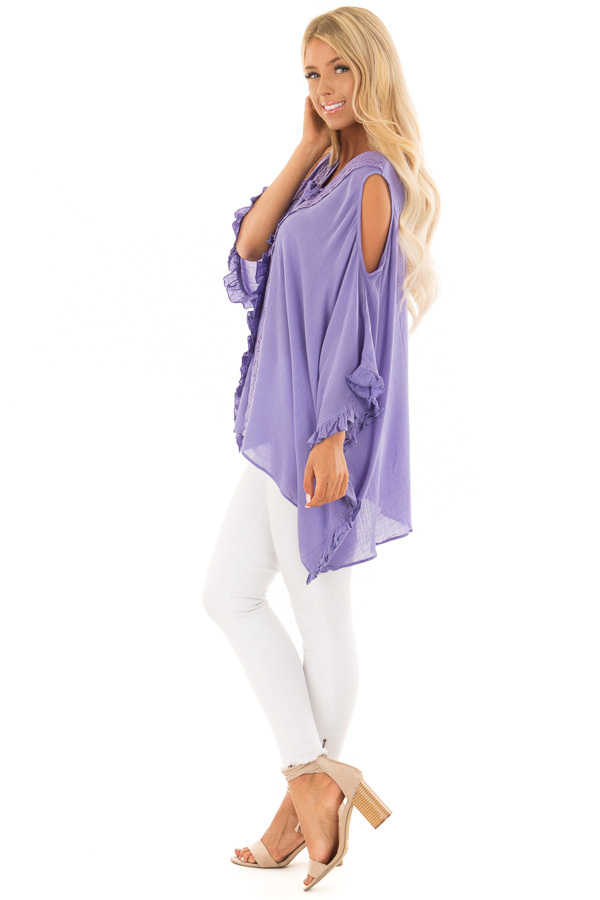 Lilac Cold Shoulder Poncho Style Top with Lace Detail side full body