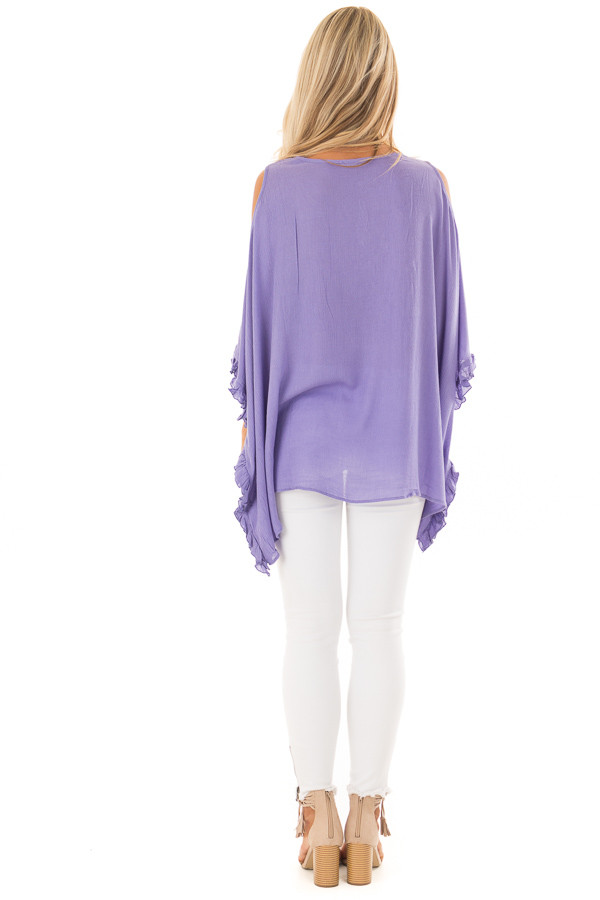 Lilac Cold Shoulder Poncho Style Top with Lace Detail back full body
