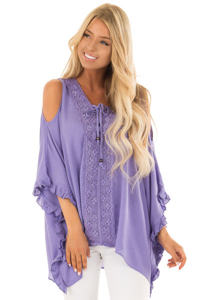 Lilac Cold Shoulder Poncho Style Top with Lace Detail front close up