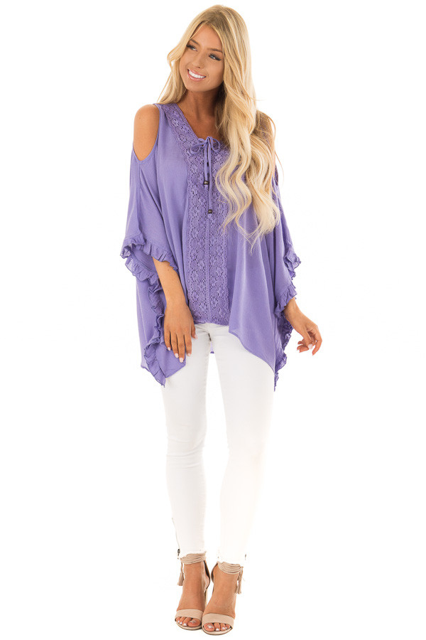 Lilac Cold Shoulder Poncho Style Top with Lace Detail front full body
