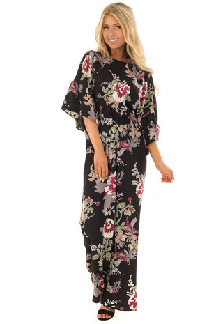 Black Floral Print Jumpsuit with Back Keyhole Detail front full body
