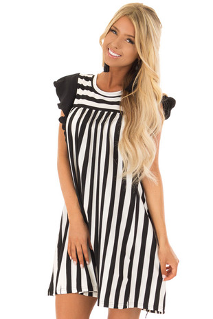 Black and White Striped Babydoll Dress with Ruffle Detail front close up