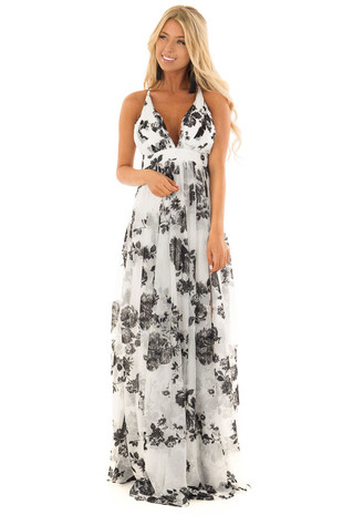 Black and White Floral Maxi Dress front full body