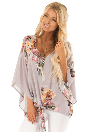 Dusty Lilac Floral Top with Kimono Sleeves and Front Tie front close up