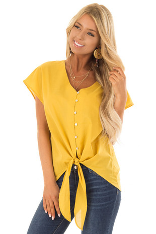 Mustard Button Up Short Sleeve Top with Front Tie front close up