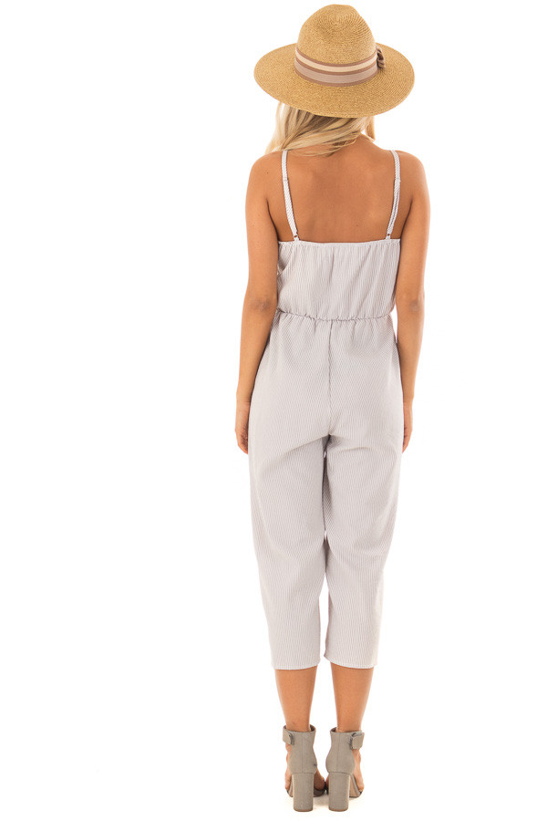 Heather Grey Striped Jumper with Front Tie Cutout back full body