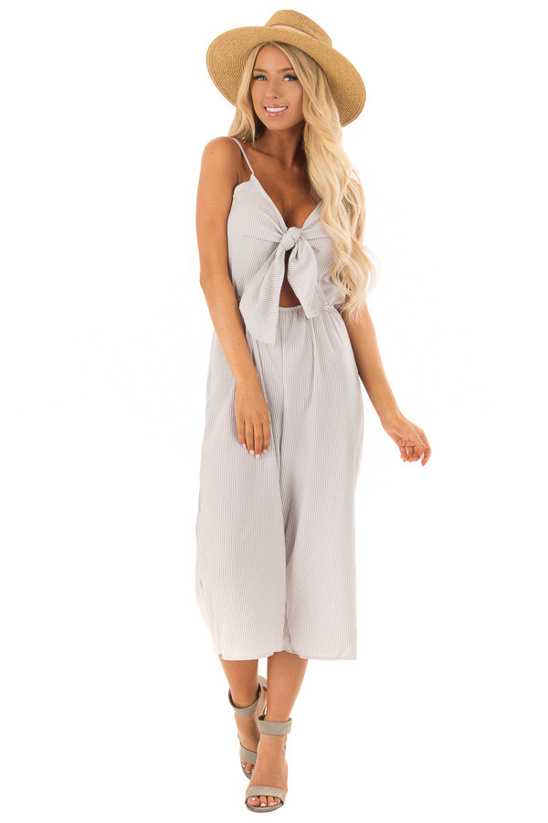 Heather Grey Striped Jumper with Front Tie Cutout front full body
