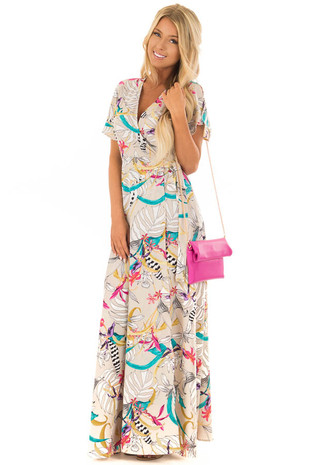 Taupe Floral Print Wrap Maxi Dress with Tie front full body