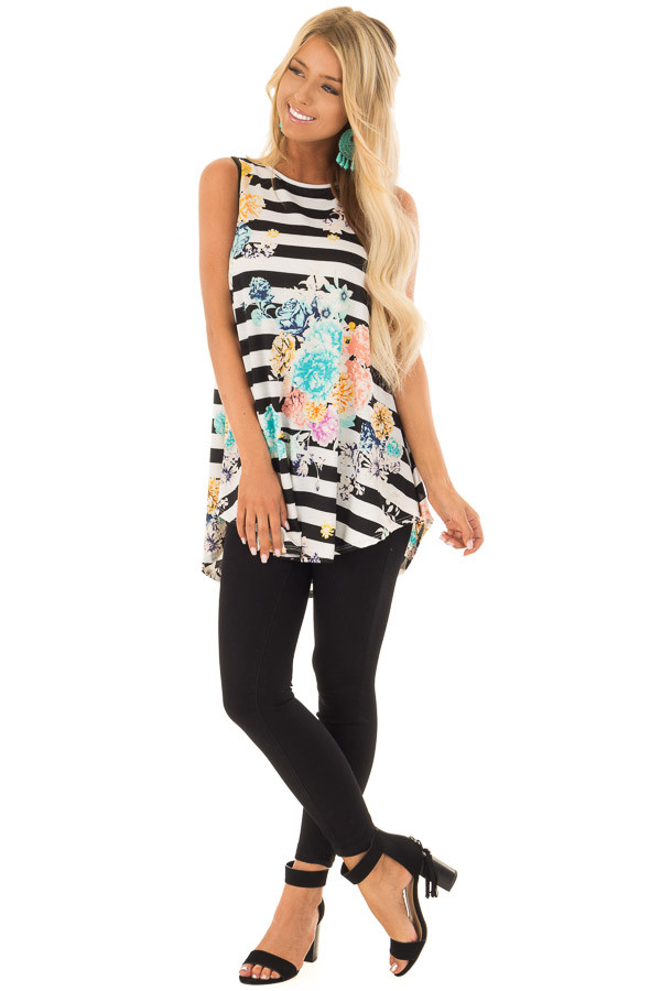Black and White Striped Floral Slinky Tank Top front full body