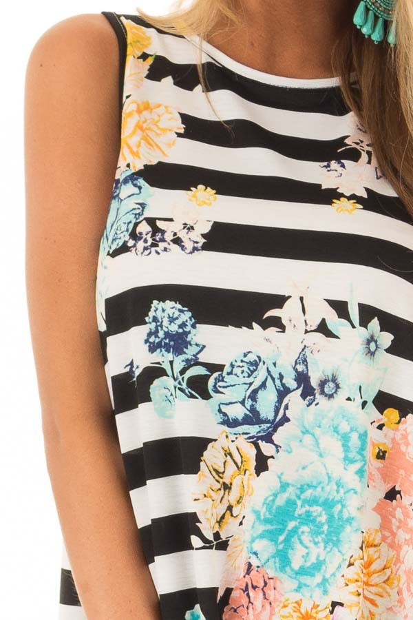 Black and White Striped Floral Slinky Tank Top detail