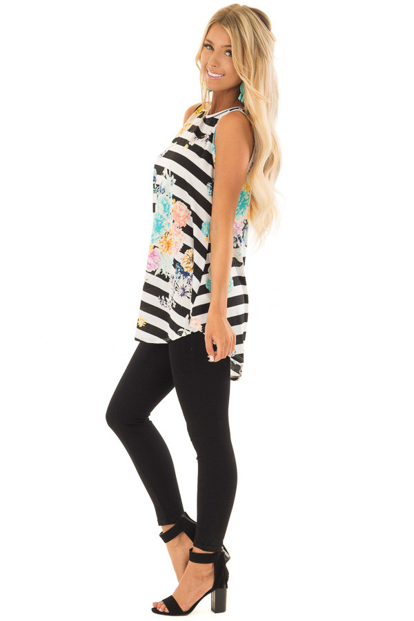 Black and White Striped Floral Slinky Tank Top side full body