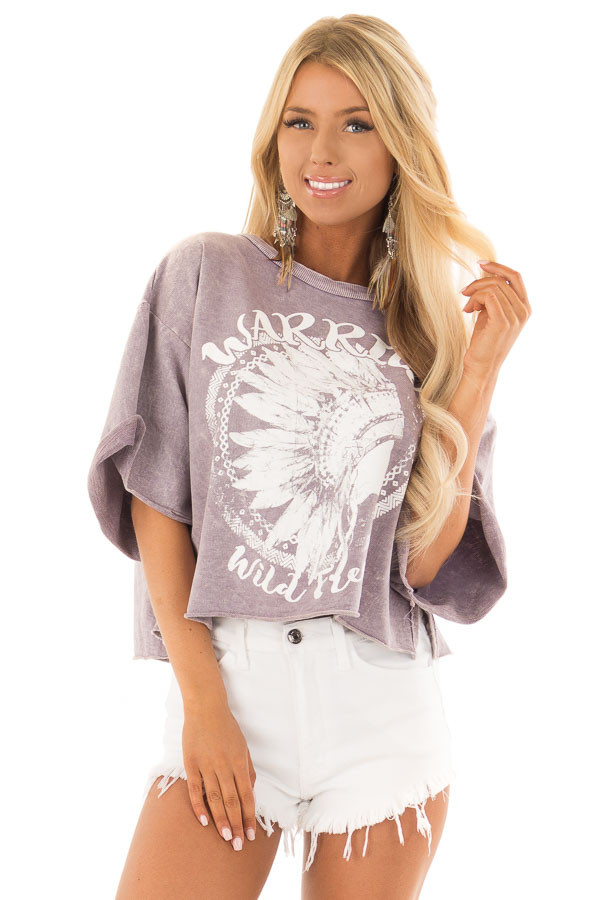 Lavender Mineral Wash 'Warrior' Graphic Print Crop Top front close up