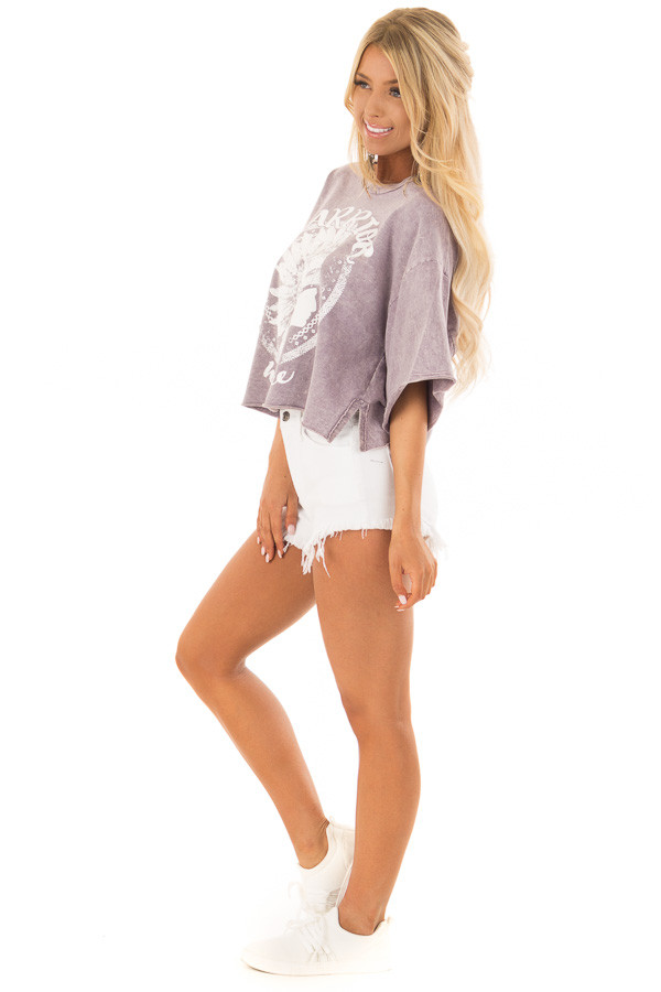 Lavender Mineral Wash 'Warrior' Graphic Print Crop Top side full body